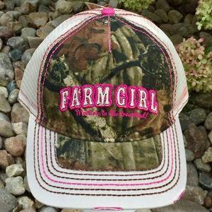 "reputable site bbe8f 48d4d Women s Farm Girl ""Meet Me"" Mesh Camo   Pink Cap"